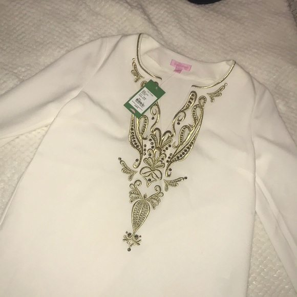 Lilly Pulitzer Tops - Lilly Pulitzer, white and gold long sleeve blouse